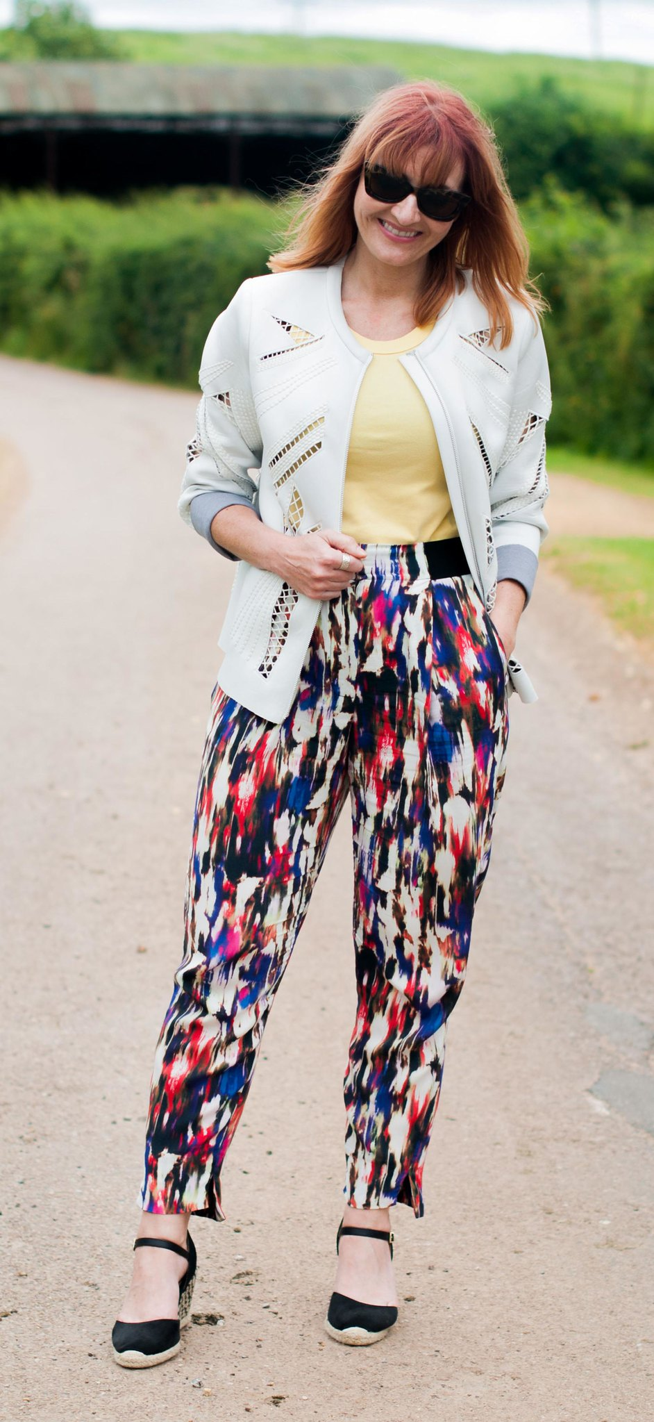 Easy, comfy summer style: Cutout scuba fabric jacket  multi coloured patterned peg trousers  black wedge espadrilles | Not Dressed As Lamb, over 40 style