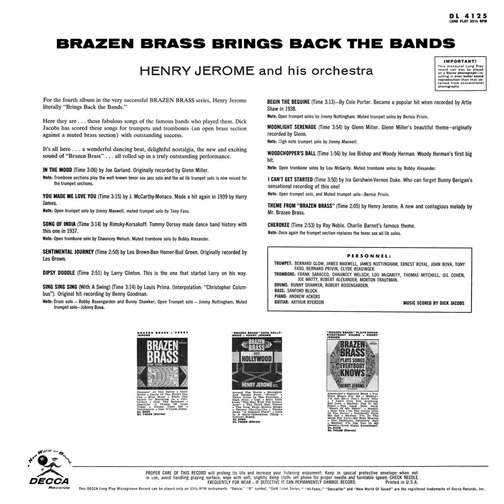 Henry Jerome - Brazen Brass Brings Back the Bands