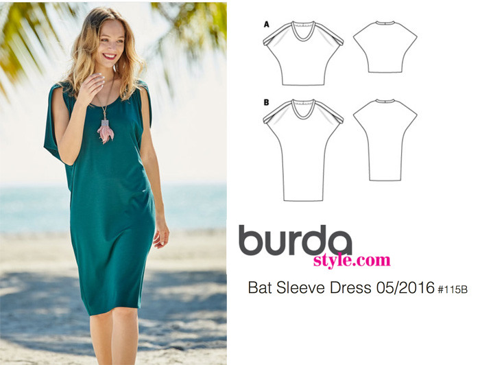 Burda bat sleeve dress 05-2016-1115B
