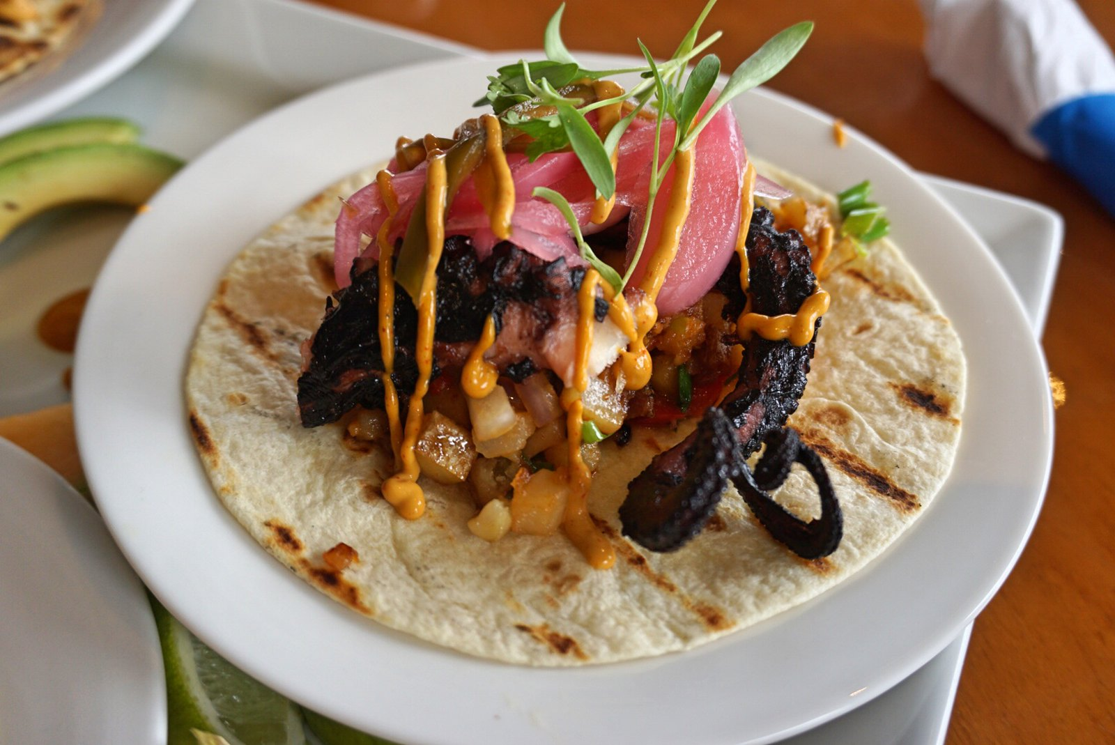Braised Veracruz Octopus Taco, Nauti Parrot Dock Bar, Fort Myers Beach, Fla.
