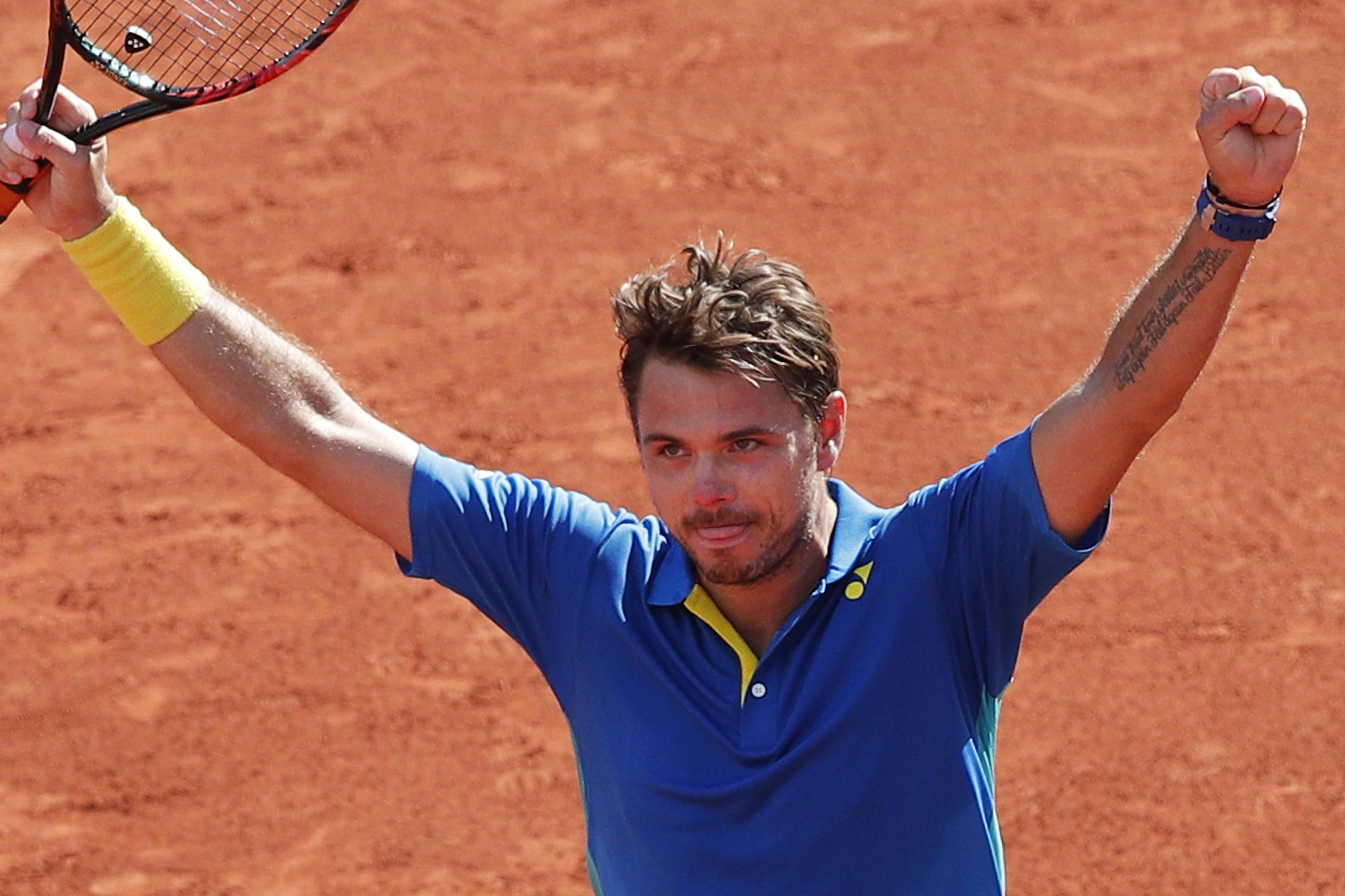 Stan Wawrinka苦戰5盤後晉級法網男單冠軍賽。(達志影像)