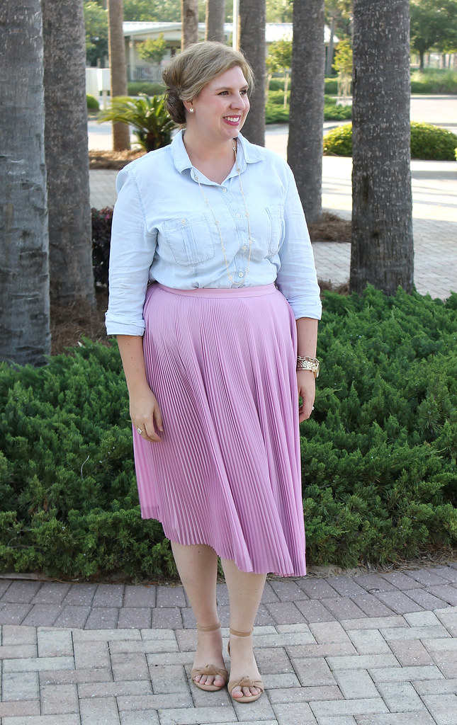 pink pleated midi and a chambray shirt 3