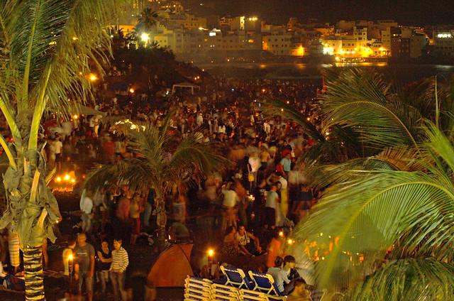 Noche de San Juan, Midsummer beach party, Puerto de la Cruz, Tenerife