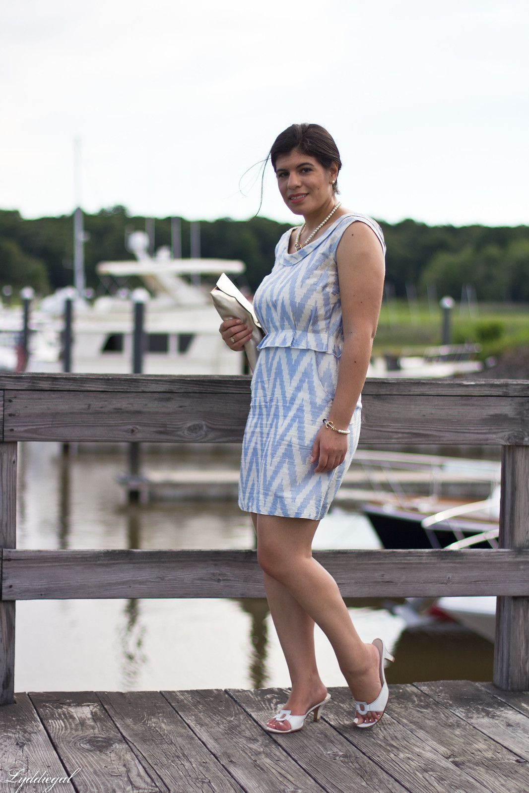 silk chevron striped dress, ferragamo slides, matine scalloped clutch-2.jpg