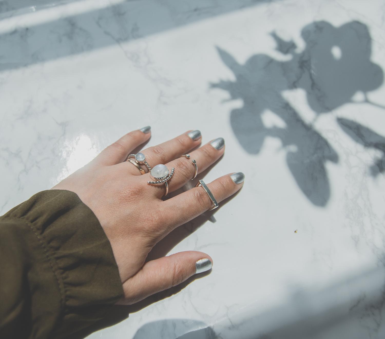 Olga Choi myblondegal fashion blogger South Korea Ольга Цой стилист байер Москва шоу-рум Styled Moscow H&M khaki ruffle sleeve dress Moonstone Magic rings-01018