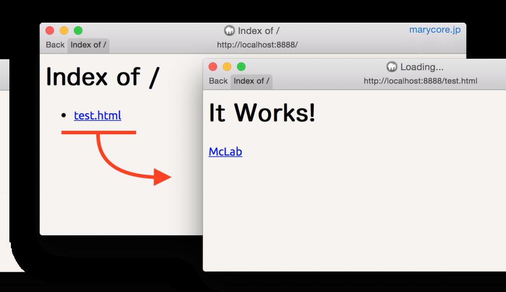 アドレス「http://localhost:8888」に一覧された「test.html」をクリックし、設置されたHTMLをブラウジング