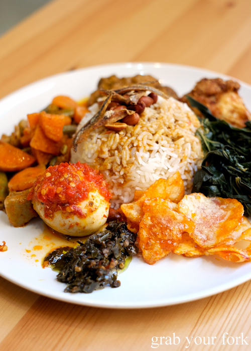 Nasi padang Indonesian combination rice at Medan Ciak Indonesian restaurant in Surry Hills