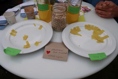 """Vergleichstest Lupinen-Aufschnitt (am Stand """"Lupinenprodukte – Eine nachhaltige Alternative?"""" bei der Osnabrücker Campus Nacht)"""