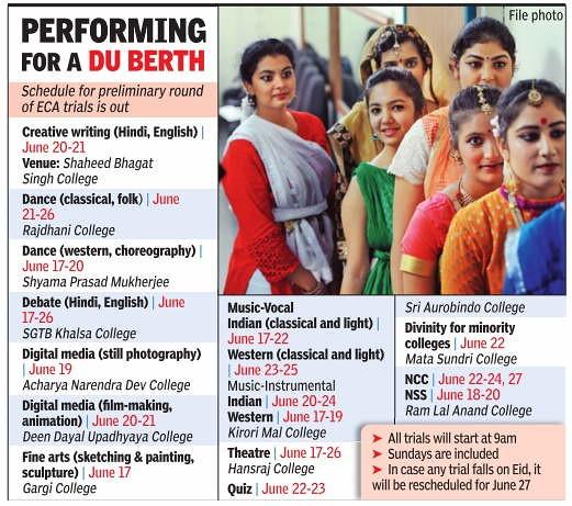 DU ECA and Sports Trial Schedule