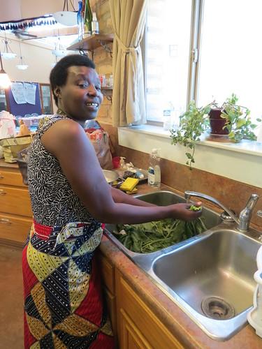 Josepha preparing amaranth greens
