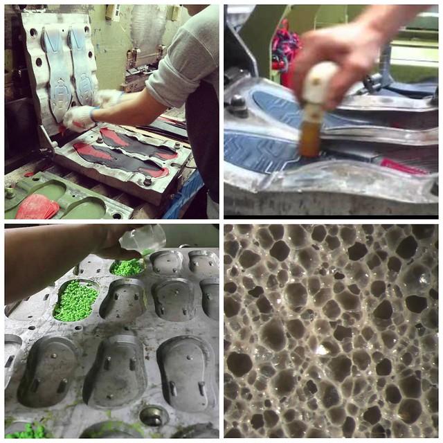 Τυχαίες εικόνες από τη διαδικασία παραγωγής ενδιάμεσης σόλας (μεταλλικό καλούπι) και αφρός EVA σε μεγέθυνση (κάτω δεξιά)