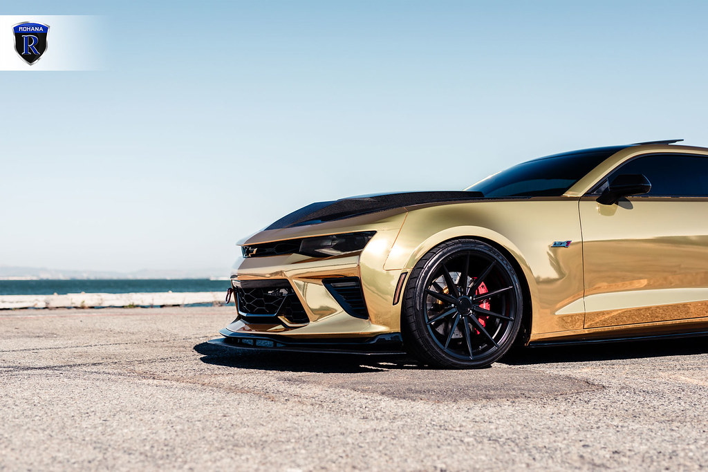 Camaro Gold Chrome Rf1 Matte Black 17 Rohana Wheels
