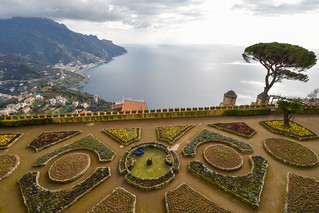 View of Garden and Amalfi Coast from Villa Rufolo, Ravello, Italy | by Gwendolyn Stansbury