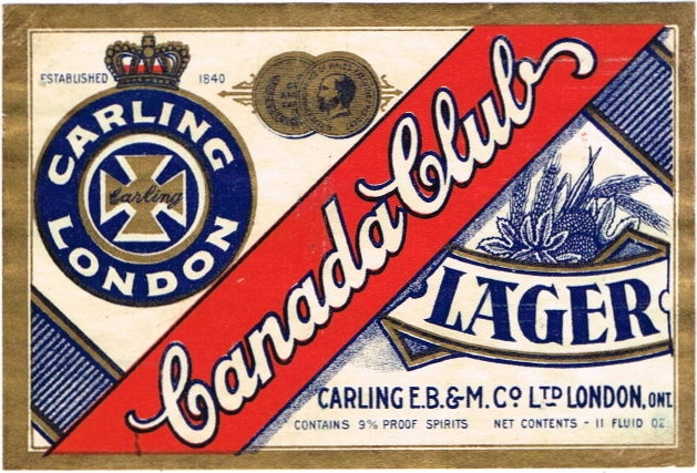 Canada-Club-Lager-Beer-Labels-Carling-Brewing--Malting-Co