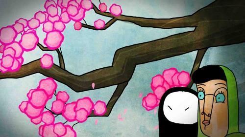 Rosie under the blossom tree