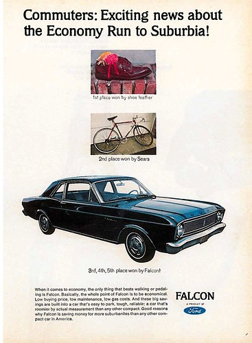 "Ford Falcon automobile ad: ""Commuters: Exciting news about the Economy Run to Suburbia,"" c. 1966"