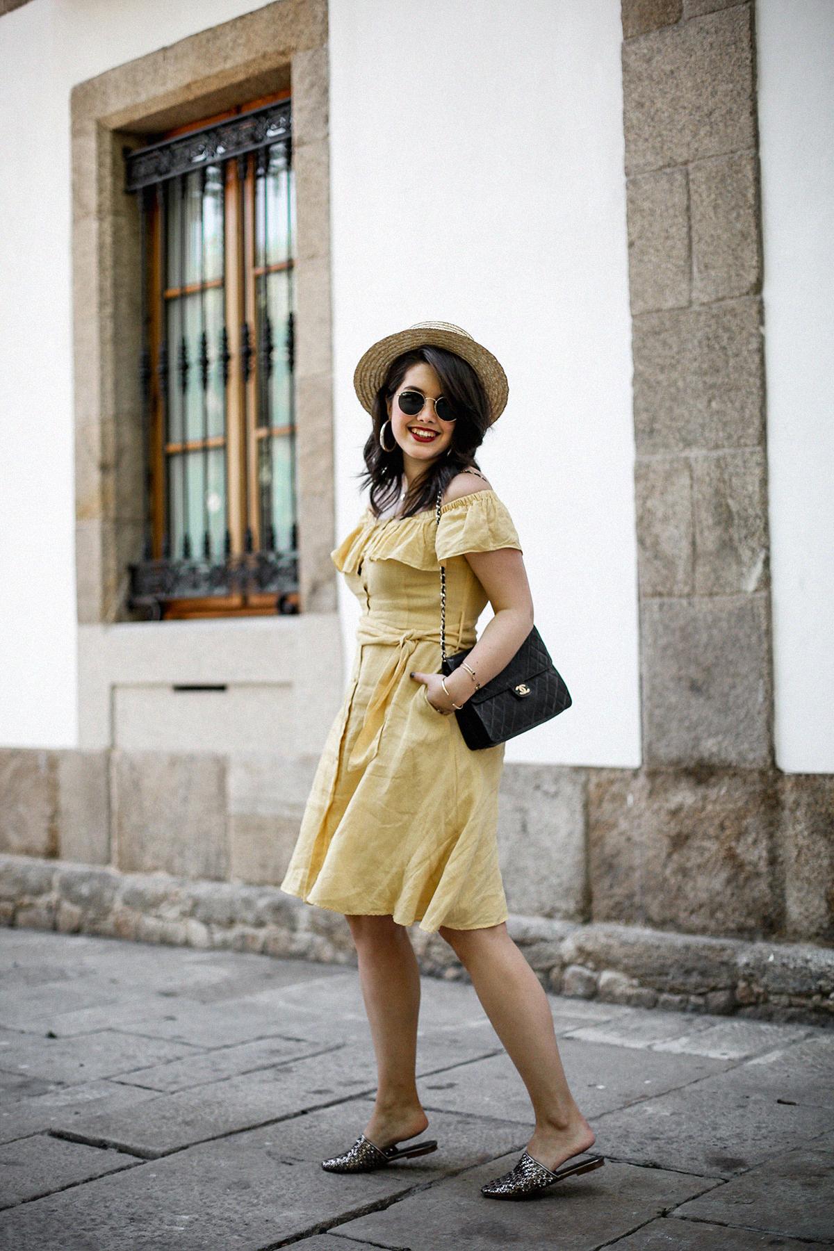 vestido-amarillo-hombros-descubiertos-zara-chanel-vintage-vestiaire-collective12
