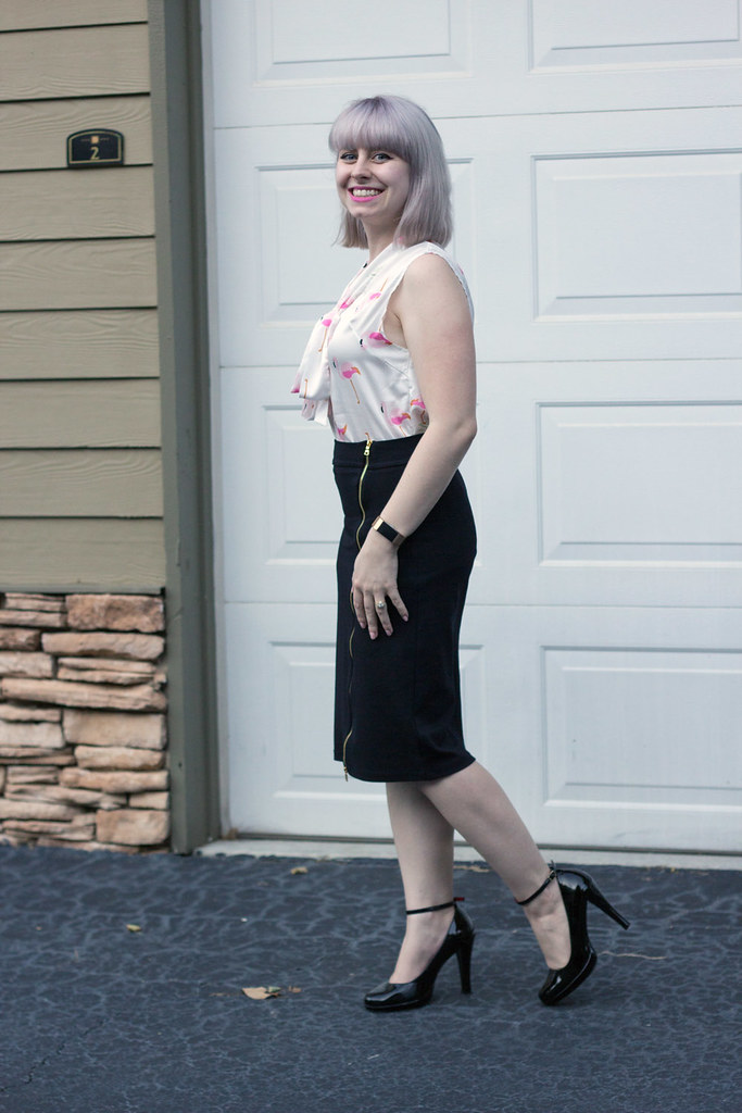 Black Bodycon Forever 21 Pencil Skirt, Black Patent Heels and a Sleeveless Flamingo Bird Print Blouse