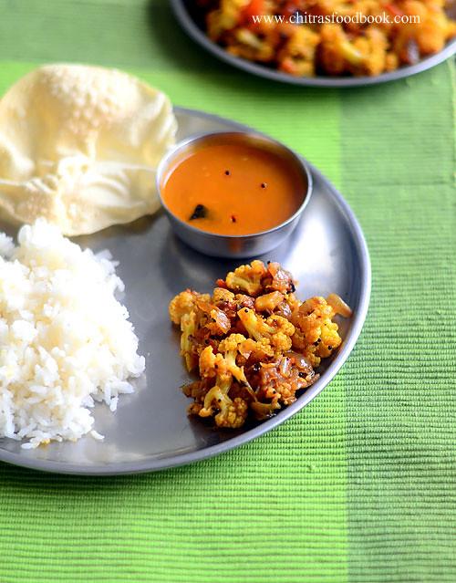 South Indian gobi poriyal