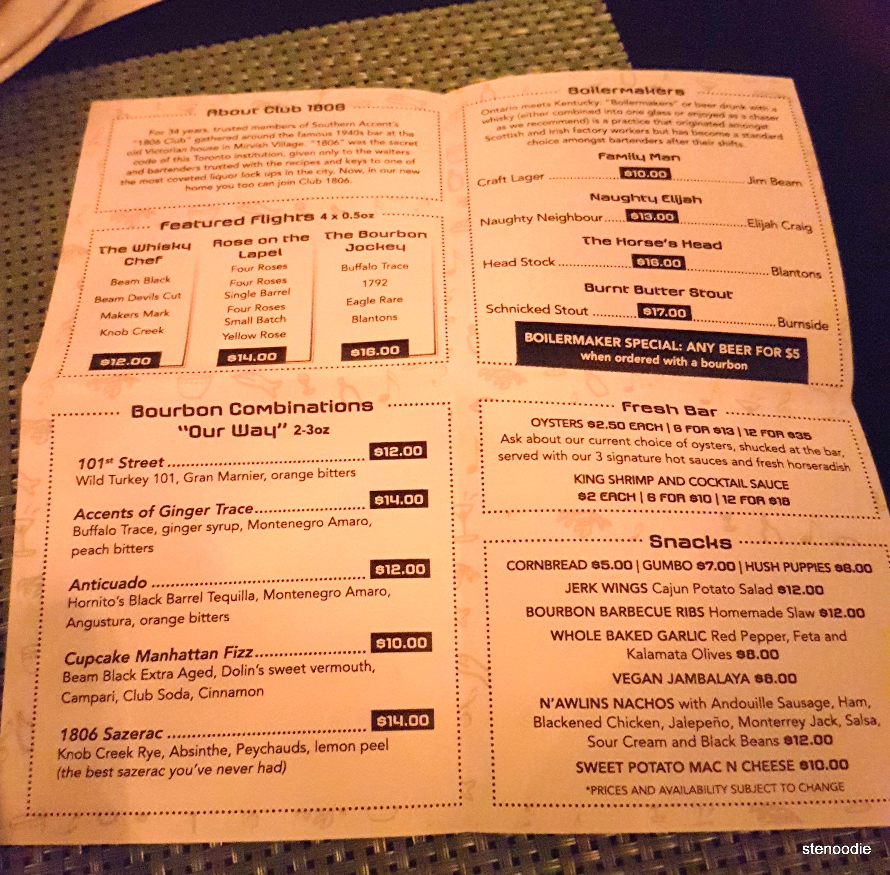 Club 1806 Bourbon Bar menu