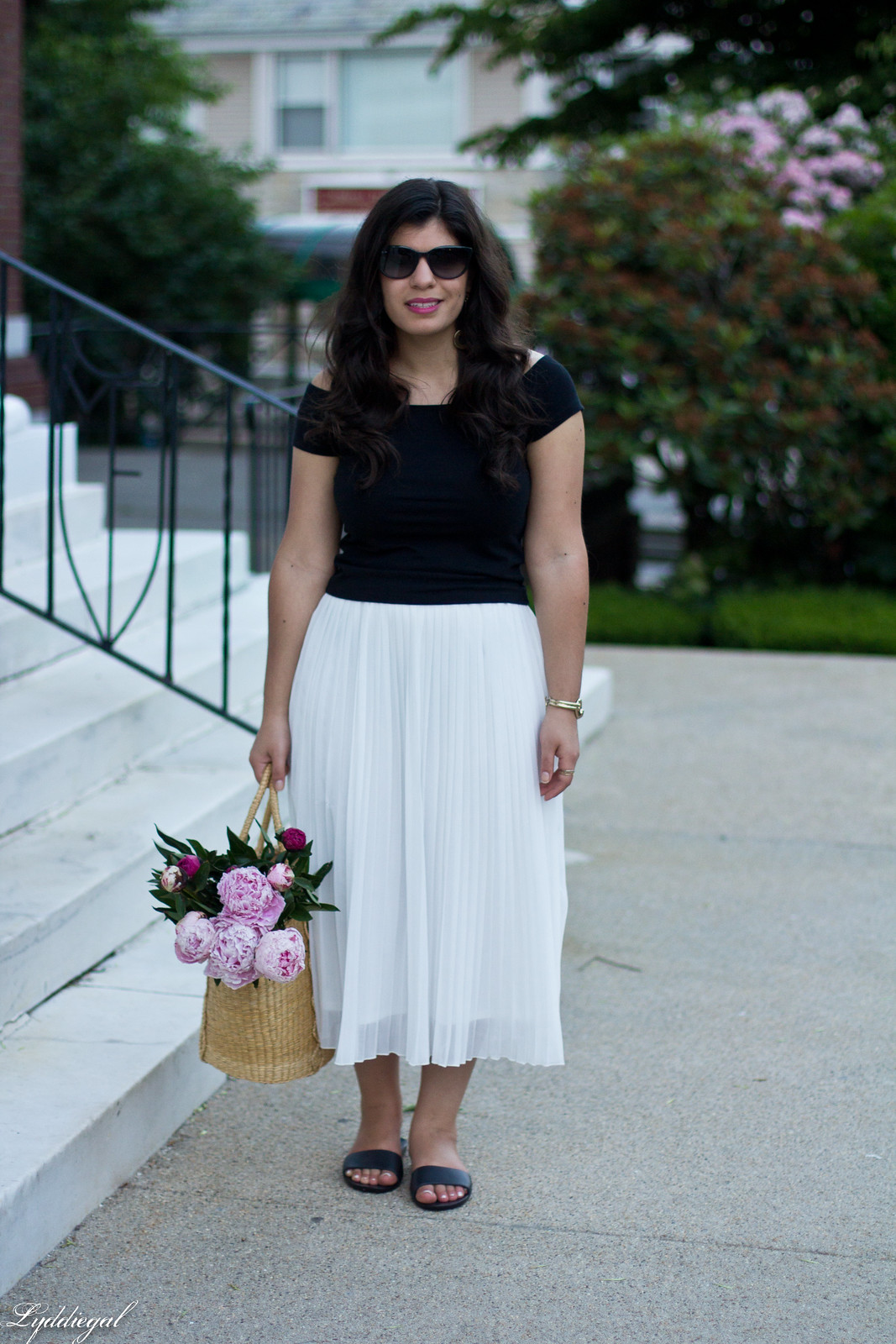 white pleated skirt, black off the shoulder tee, Soak sandals-14.jpg