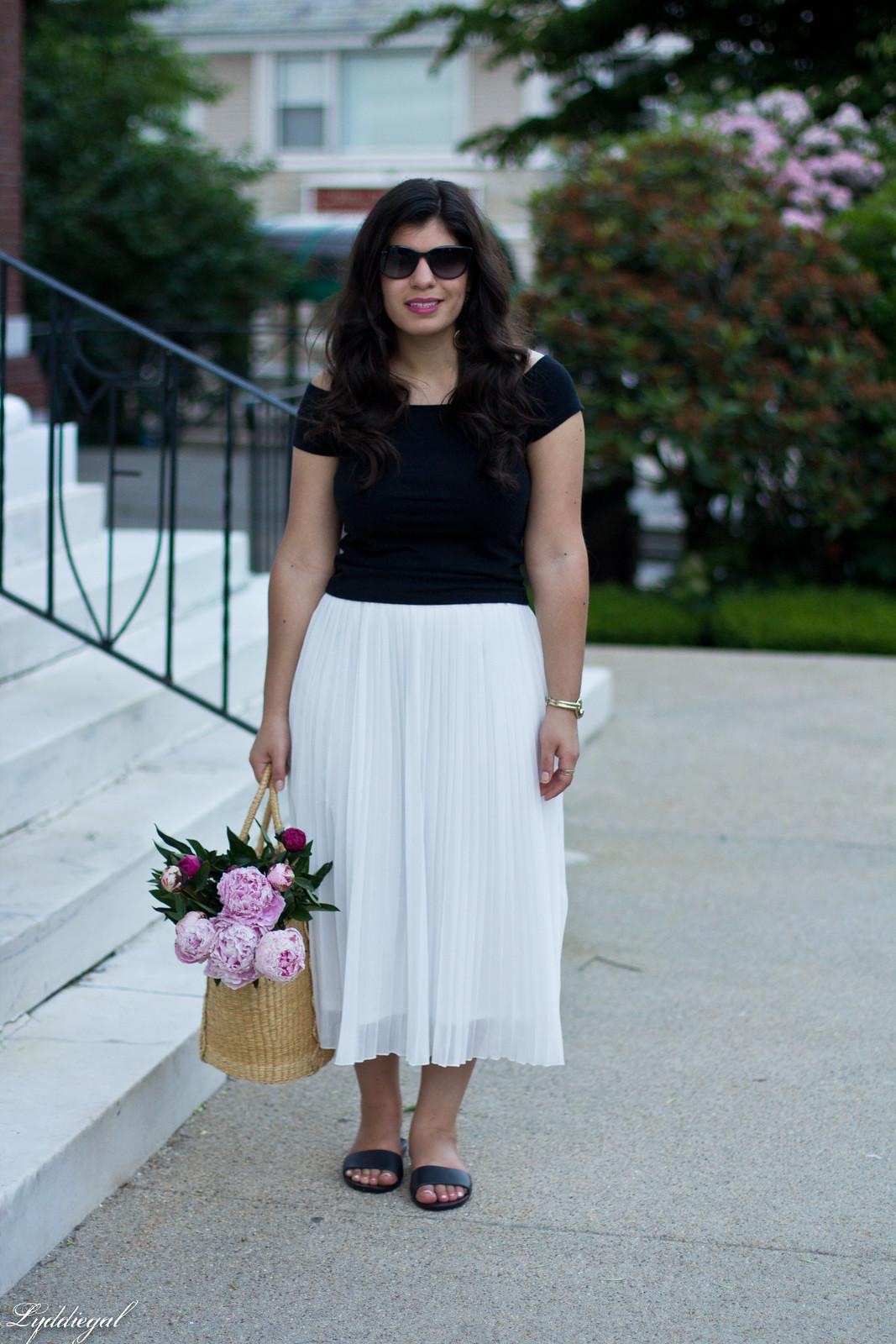 white pleated skirt, black off the shoulder tee, Soak sandals-14.jpg