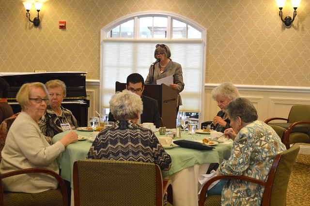 GenMtgMayLunch2017_0010; President Kathy Hutchins at podium.