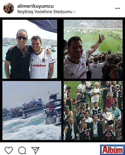 Ali Mert Kuyumcu, taraftarı olduğu Bşiktaş JK'nın şampiyonluk kutlamalarından bu fotoğrafı paylaştı.