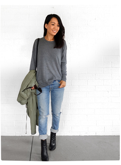 Slouchy Knits and Ripped Jeans