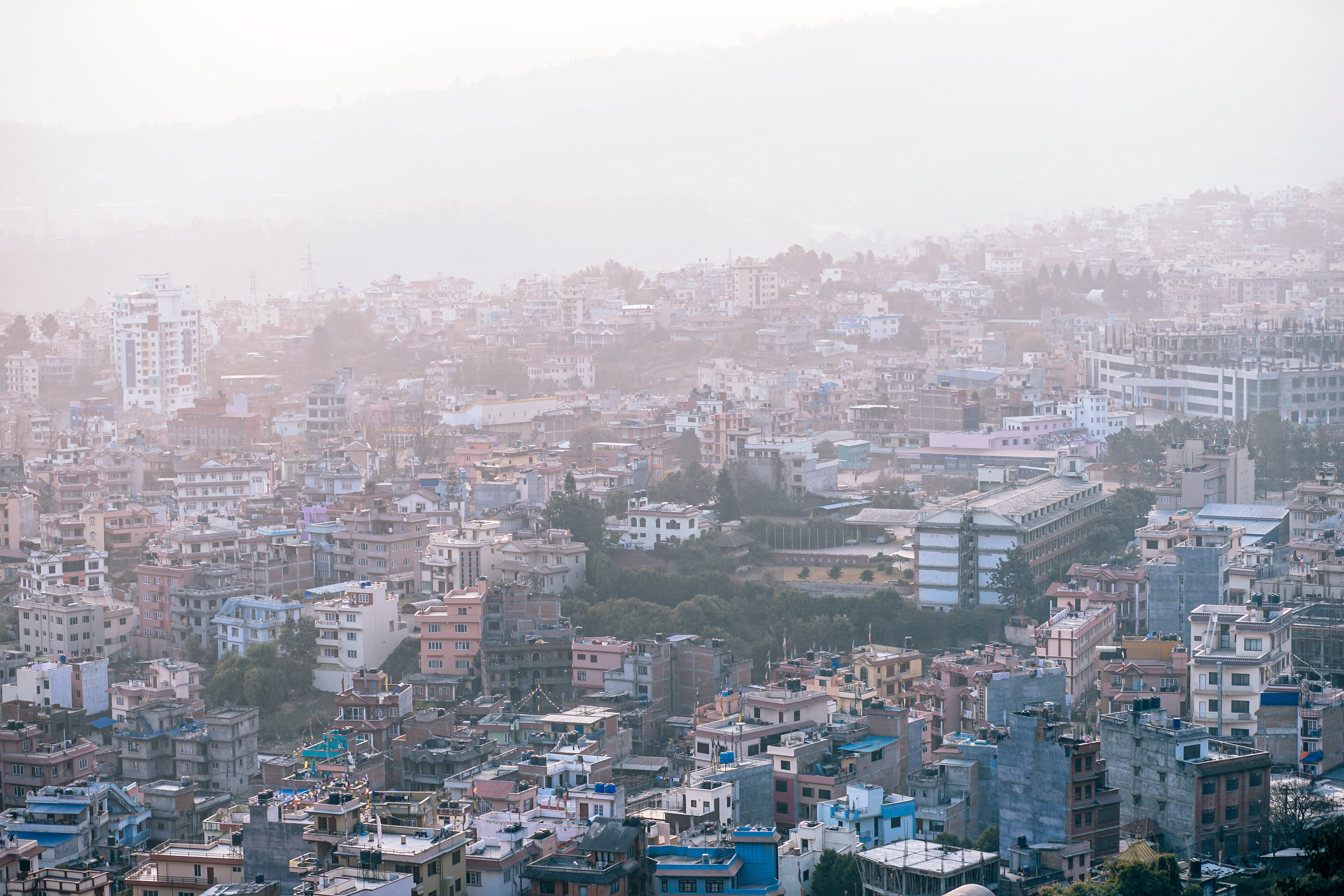 What the city of Kathmandu looks like when photogrpahed from above.
