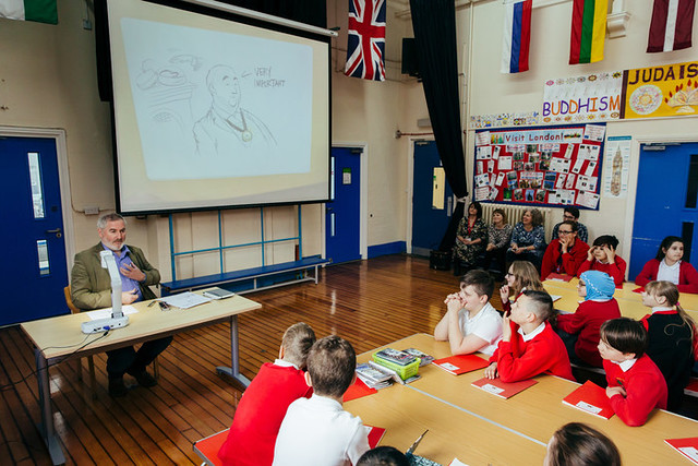 Outgoing Children's Laureate Chris Riddell visits Stepney Primary School in Hull © James Mulkeen