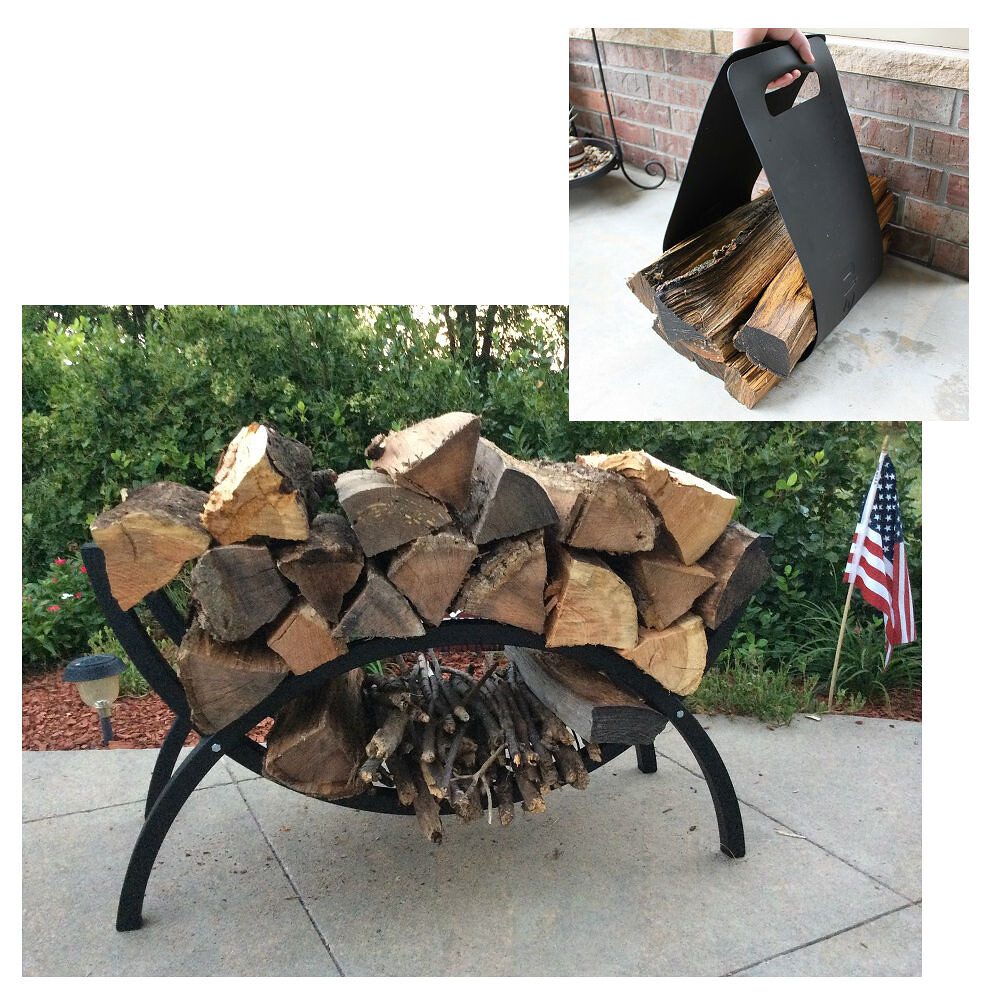 QBC Bundled Woodhaven Firewood Rack - 39-CRES-WRWC - Small Crescent Firewood Rack - Black - (39.8in x 17in x 15in) with Woodhaven Log Carrier (50in x 10.75in) - Plus Free QBC Firewood Rack Guide