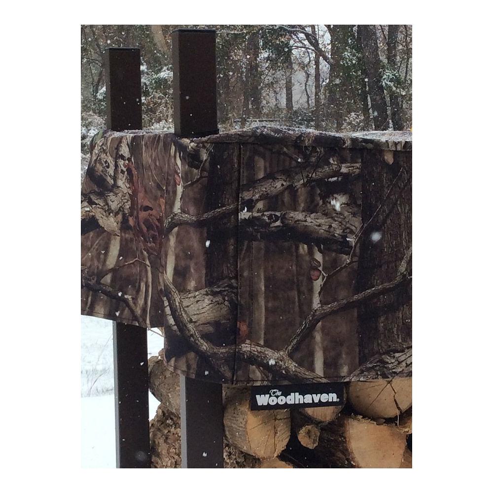 QBC Bundled Woodhaven Firewood Rack - 144-WRC-CAMO - 12ft Mossy Oak Camo Firewood Rack - Black - (4ft x 12ft x 14in) with Mossy Oak Cover - Plus Free QBC Firewood Rack Guide
