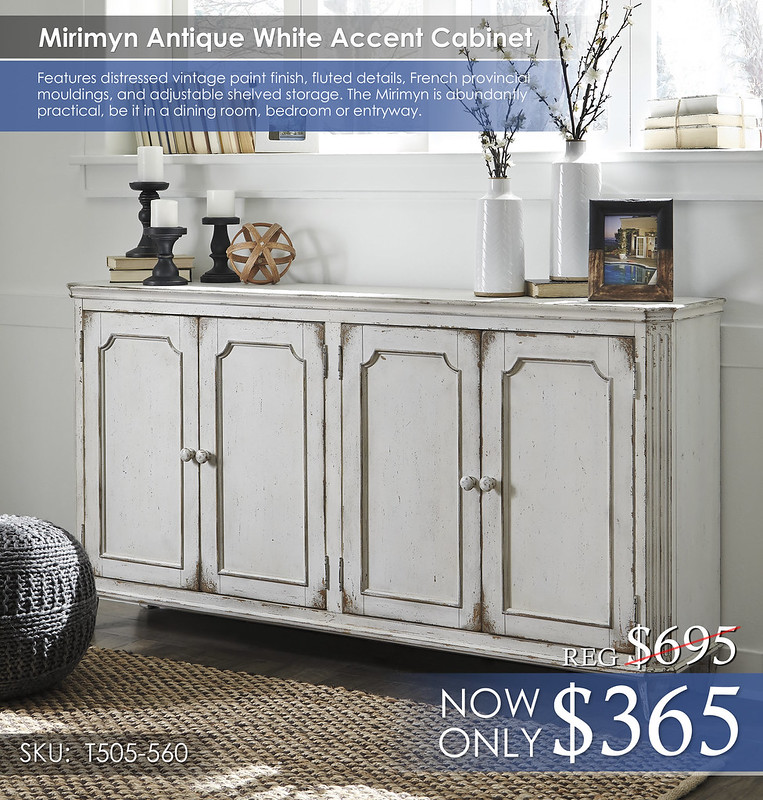 Mirimyn Antique White Accent Cabinet T505-560