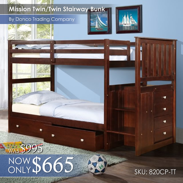 820CP Mission TT Staircase Bunk Bed
