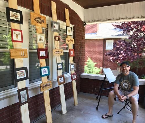 My artwork, today, at Phelps Grove neighborhood's  Art in the Garden event.