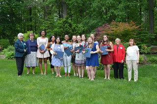 29. 2017ScholarshipTea0091: award recipients and WCCP Scholarship Committee