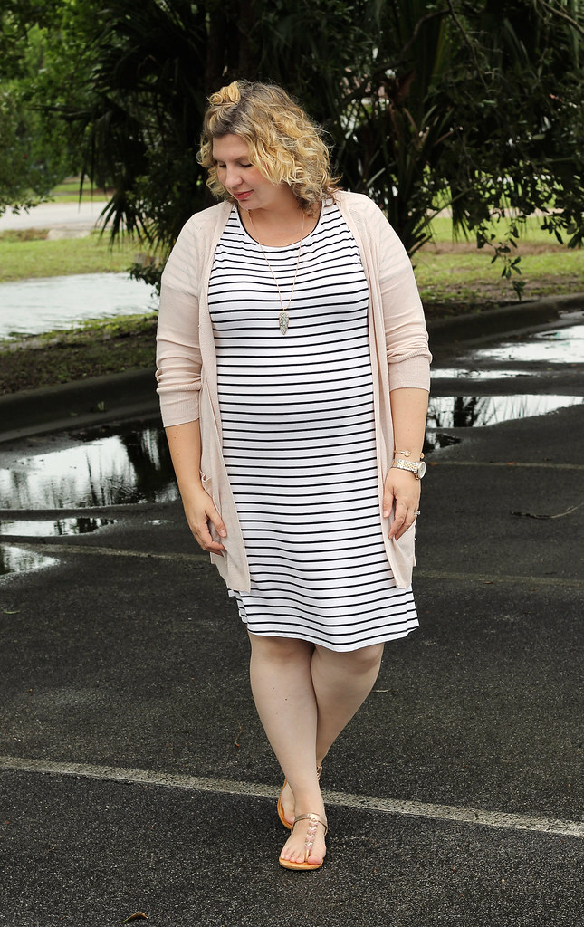 black and white stripe dress, long blush cardigan 7
