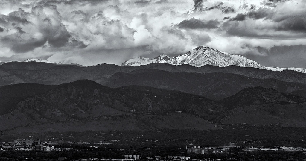 Long's Peak, Boulder Valley from Davidson Mesa - black and white