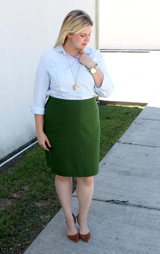 chambray skirt and green pencil skirt 6
