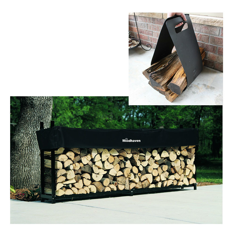 QBC Bundled Woodhaven Firewood Rack - 10ft Mossy Oak Camo Firewood Rack - Black - (4ft x 10ft x 14in) with Mossy Oak Cover and Woodhaven Log Carrier - Plus Free QBC Firewood Rack Guide