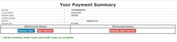 SOL DU Payment of Admission Form