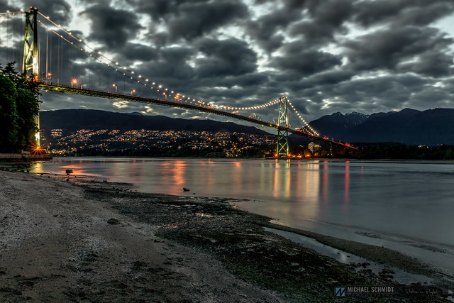 The Lion's Gate Bridge at Stanley Park in Vancouver BC.