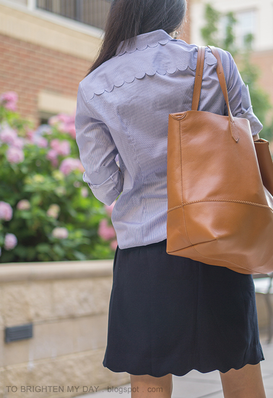 striped shirt with scallops, navy skirt with scalloped hem, cognac brown tote