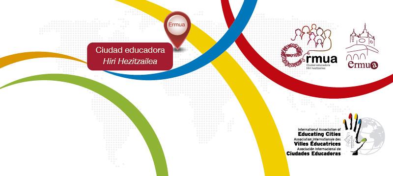 Cartel anunciador de la incorporación de Ermua a la Red Internacional de Ciudades Educadoras