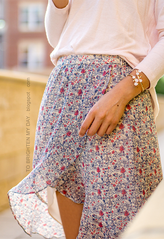 light pink sweater, wildflower cuff, floral ruffle-wrap midi skirt