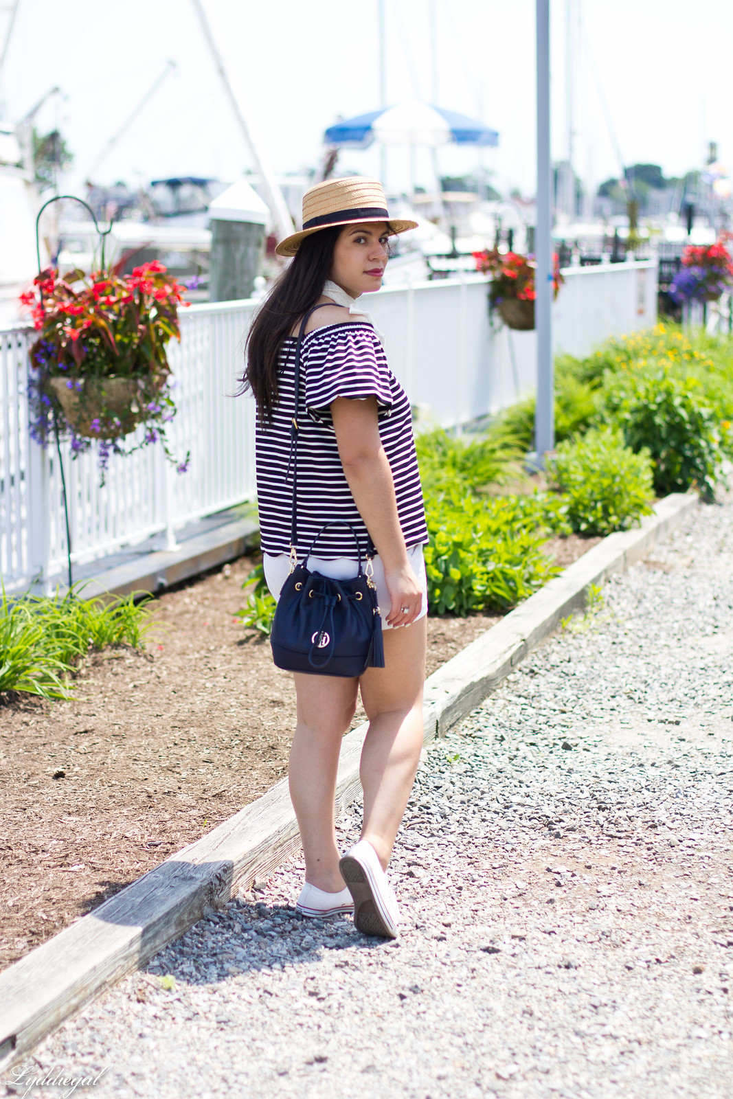 striped off the shoulder top, white shorts, straw hat.jpg