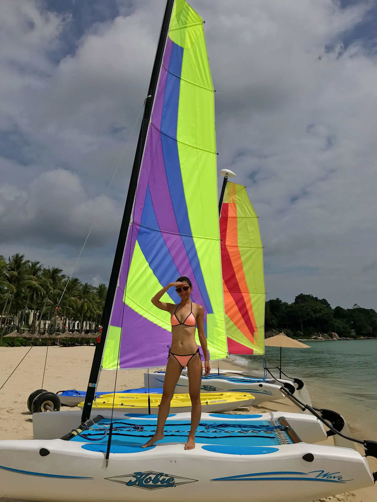 Learning to sail on a baby catamaran