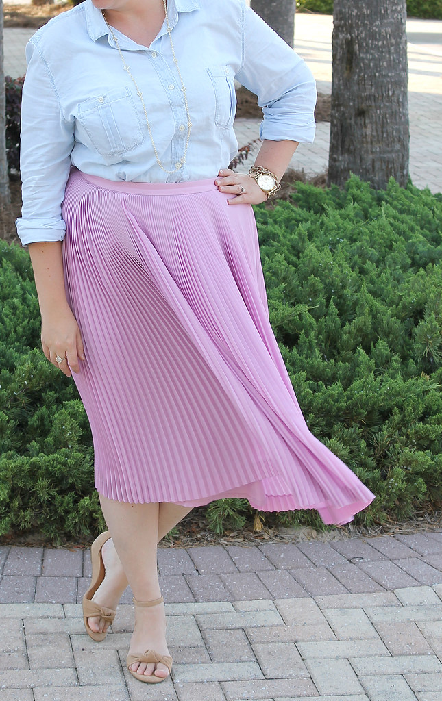 pink pleated midi and a chambray shirt 1
