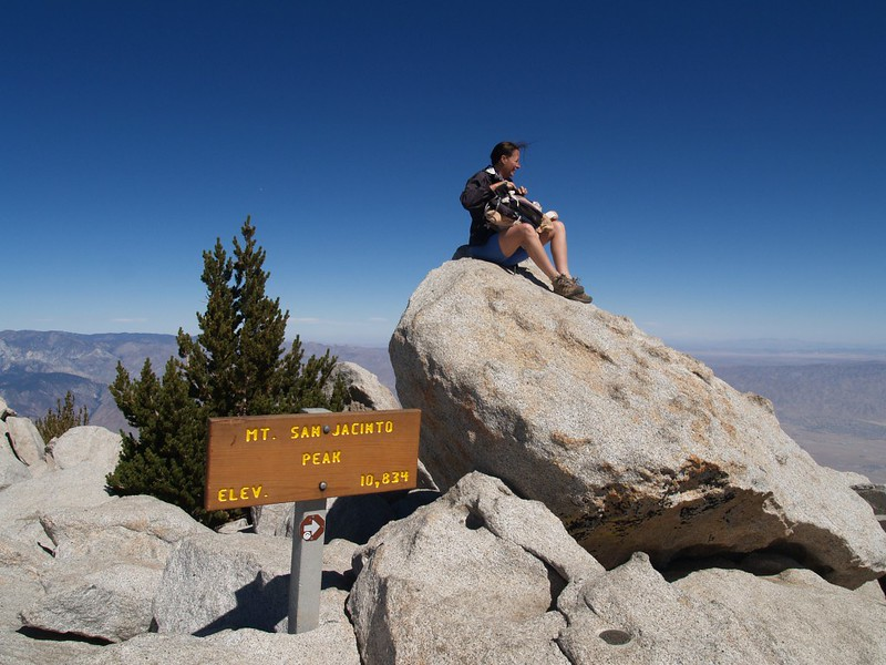 Vicki on the San Jacinto Peak summit block, 10834 feet elevation